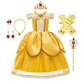 HIHCBF Girls Beauty and The Beast Costume Belle Princess Birthday Party Christmas Halloween Fancy Dress w/Accessories Set Yellow 001 2T