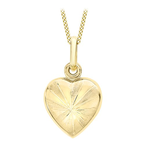 Carissima Gold 9ct Yellow Gold Patterned Heart Locket Pendant on Curb Chain Necklace of 46cm/18'