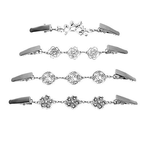 YOOOJIA 4 Stücke Damen Pullover Clips Vintage Strickjacke Kette Kreative Silber Klipp mit Pflanzenmuster für Kleid Kleidung für Frauen und Mädchen Silber Multi