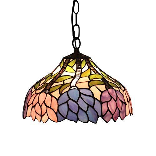 XIAOKUKU Lámpara Colgante E27 de 12 Pulgadas Tiffany Flor de Cristal lámpara Colgante de Altura Ajustable araña Retro nórdica LED Dormitorio-Sala de Estar-Comedor lámparas de Techo de Interior