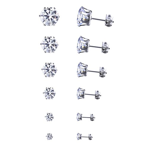zhibeisai 12 Pares de Pendientes Mujeres espumoso cristalino Brillante Conjunto Hombres Diamantes de imitación del Perno Prisionero del oído de la joyería Anillos de Regalo de la Muchacha