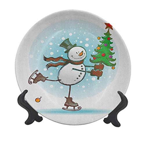 Plato decorativo de cerámica para colgar con muñeco de nieve de 15,24 cm, diseño de muñeco de nieve con árbol de Navidad y sombrero, para cenar o cenar