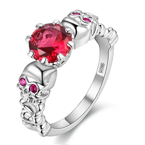 Uloveido Created Ruby Diamond Jewellery Gothic Skull Shape Women Rings for Girls Party Y193