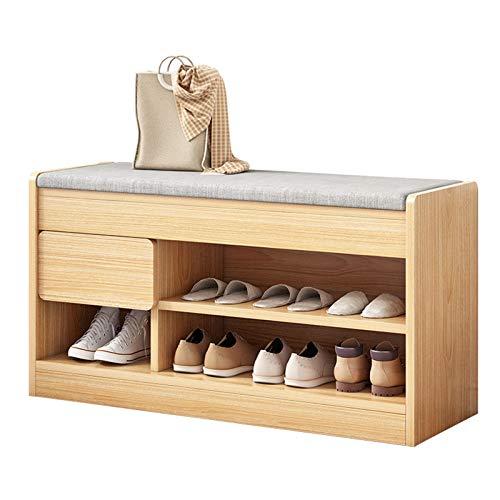 XIALIUXIA Banco Organizador De Zapatos, Banco para Zapatos con Asiento De 2 Pisos, Asiento De Madera para Pasillo, Baño, Sala De Estar Y Entrada,B,80CM