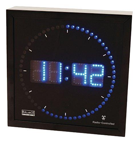Eurosell - Design Wanduhr LED Beleuchtet quadratisch schwarz blau Funkuhr Funk Wand Uhr mit Beleuchtung Digital