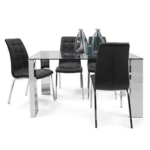 Homely - Conjunto de Comedor Karina II Mesa de 140x90 cm de Cristal y Acero Pulido y 4 sillas de Polipiel y Patas de Acero Cromado (Negro)