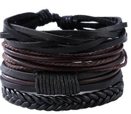 3 Pulseiras Bracelete de couro sintético Unissex masculina feminina ajustável