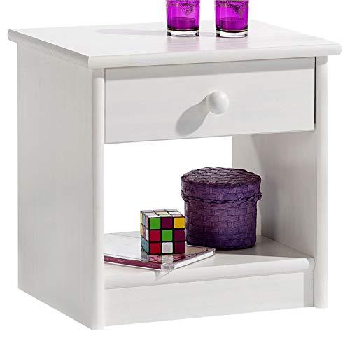 IDIMEX Table de Chevet Table de Nuit Moritz 1 tiroir pin Massif lasuré Blanc