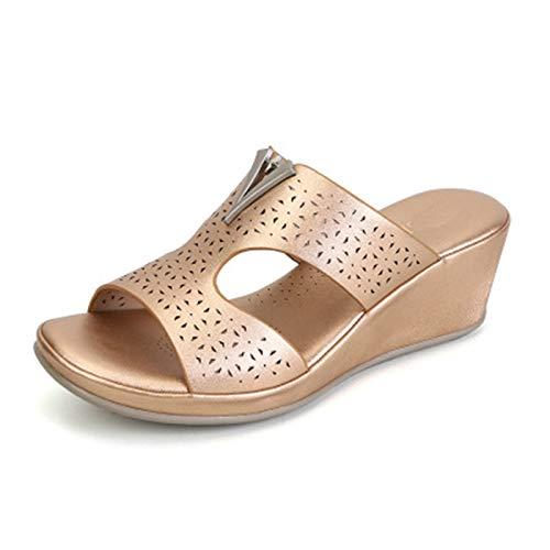 Sandalias Casuales Zapatos de Playa Sandalias Roma Chanclas de Damas Cómodo Antideslizante Cuña Zapato Exterior a pie Senderismo Shoes (Color : Metallic, Size : 40)