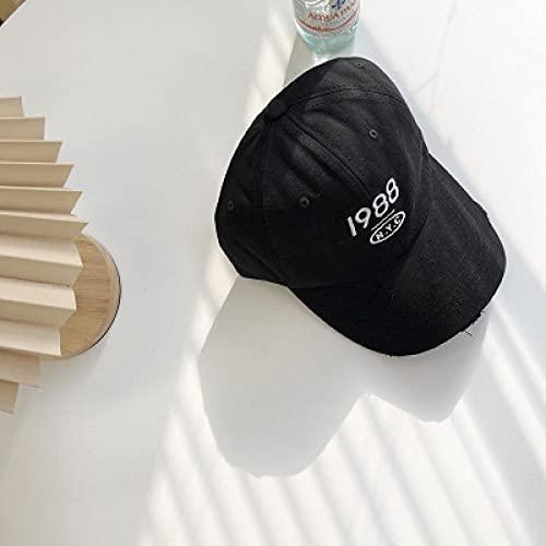 YYLPLLE Sombrero De Mujer con Bordes Irregulares Y Agujeros, Gorra De Béisbol Fina, Lavable Y con Letras Antiguas 1988 Bordado-Negro_M (56-58Cm)