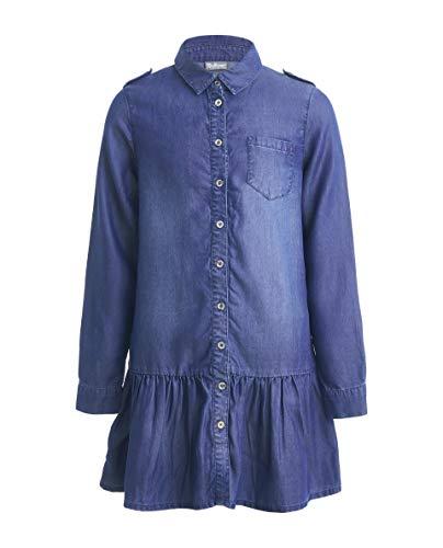 GULLIVER - Vestido de niña para niña, vestido vaquero azul con parche de manga larga, largo medio, 9 - 14 años, 134 - 164 cm azul claro 164 cm