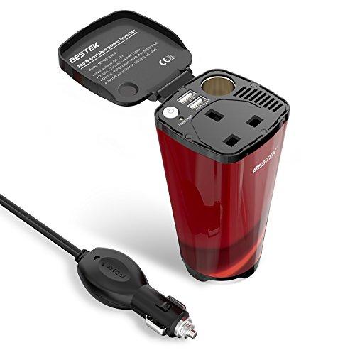BESTEK 200 W autolader Power Inverter DC 12 V naar AC 230 V 240 V-in sigarettenaansteker + AC stopcontact + 3,4 A dual USB-oplaadkabel poorten spanning converter transformator