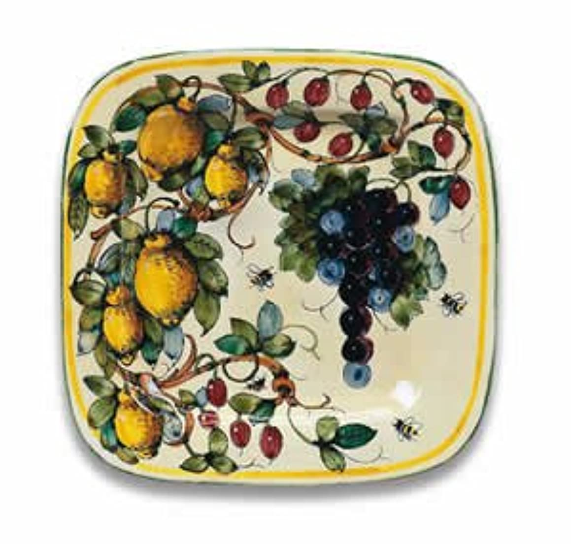Hand Painted Toscana Bees Square Platter From Italy