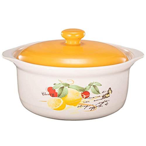 Round casserole with lid ceramic saucepan non-stick saucepan heat resistant soup pot delicious slow stew pot 3.5l yellow lemon molded Japanese clay pot