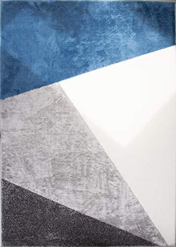 The Rug House Alfombra Abstracta Geometrica Texturizada a Bloques, Duradera, en Colores Azul Marino y Gris, para la Sala de Estar, pasillos y/o dormitorios 120cm x 170cm