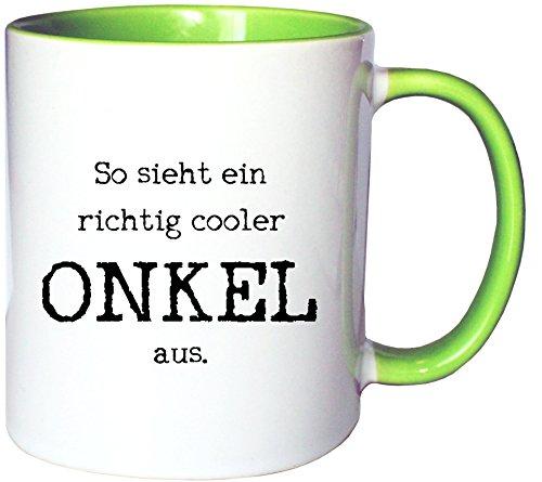 Mister Merchandise Kaffeetasse Becher So Sieht EIN richtig Cooler Onkel aus Uncle Öhme, Farbe: Weiß-Grün
