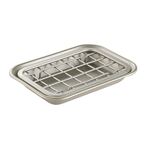 Price comparison product image iDesign Soap Dish for Soap Bars,  Small Soap Holder Made of Durable Metal,  Practical Sink Caddy with Mesh Insert for Quick-Draining Soap Storage,  Matte Silver