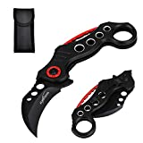 ALBATROSS EDC Cool Spring Assisted Folding Pocket Knives Tactical Sharp Raptor Claw Knife(Black-Hole)
