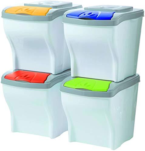 SIMMON Conjunto de 4 Cubos modulares para la Basura, 20 litr