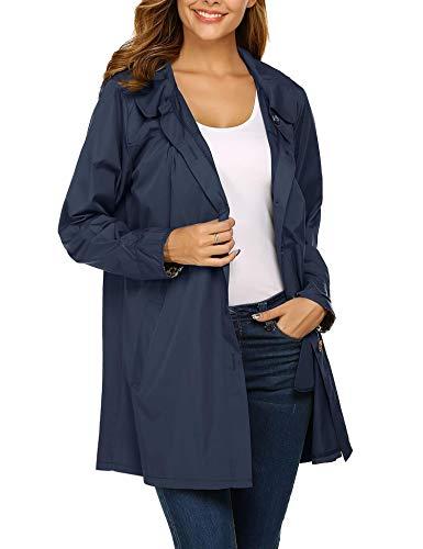 Beyove Rain Jacket Women Lapel Collar Hooded Lightweight Raincoat Active Outdoor Waterproof Windbreaker S-XXL