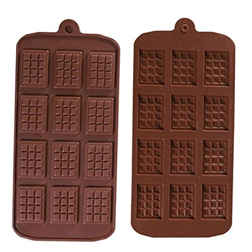 LjzlSxMF Molde del Chocolate de 12 Cavidad del Chocolate DIY silicón de la Bandeja para Hornear la Pasta de azúcar del Molde 2 Piezas de Herramientas