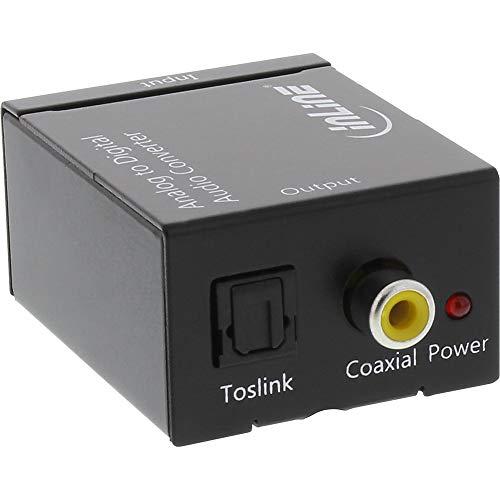 InLine® Ljudomvandlare analog till digital, AD-omvandlare, ingång 2 x RCA-stereo, utgång Toslink eller RCA