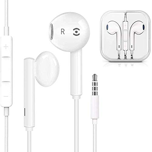 Auriculares para iPhone 6 con de 3,5 mm con Micrófono y Control de Volume in-Ear Sonido Estéreo Auricularescon Cancelación de Ruido para iPhone 6/6s/6plus/5s,Huawei,Samsung,iPod y de 3,5 mm Earphones