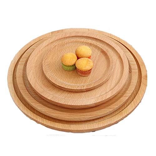 Family Needs Originative Houten Stave Pizzaplaat Brood Snack Breakfast Plate (Color : Black, Size : Diameter: 14cm)