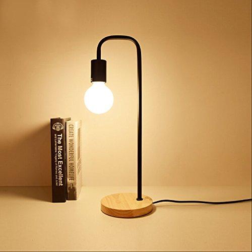 BFUNT Lámpara de Escritorio Loft Vintage con 2 Colores,lámparas de Mesa Edison de Madera de Campo Americano Tradicional,Accesorios de Mesa de Metal nórdico