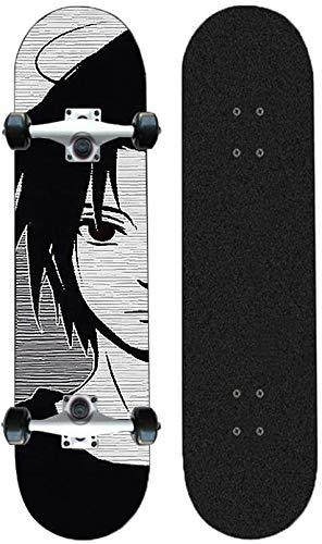 Kssmice Skateboards komplette Vier-Runden-Kreuzer Skateboard Longboard-Tropfen durch Downhill/Freeride Cruiser Komplett 31 Zoll Anime Sasuke