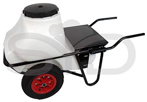 Chasis de carretilla con dos ruedas y depósito de 100l.