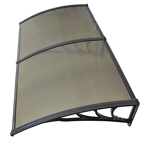 """ZENY 40""""x 80"""" Window Awning Canopy Overhead Door Awning Polycarbonate Cover Front Door Outdoor Patio Canopy Cover Sun Shetter,UV,Rain Snow Protection Hollow Sheet, Brown"""