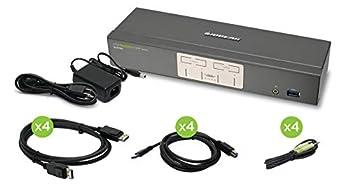 IOGEAR 4-Port 4K UHD DisplayPort KVMP Switch with USB 3.0 Hub w/Full Set of Cables  TAA Compliant  GCS1904