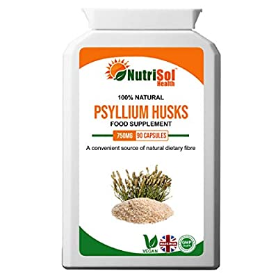NutriSol Health Psyllium Husks 750mg 90 Capsules | Natural Soluble Fibre | 100% Natural GMP Quality Food Supplement Made in The UK