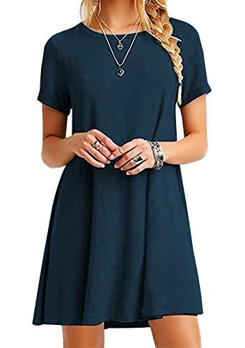 OMZIN Damen Cotton Kleider Sommerkleid Einfarbig Rundhals Kurzarm Plissee Kleid Casual Lose miniKleid dunkelblau 3XL