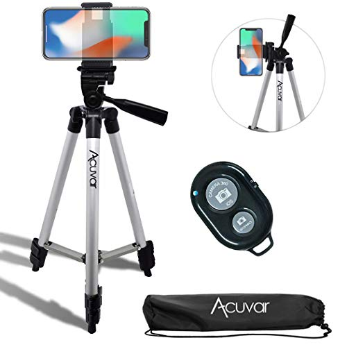 Acuvar 50' Inch Aluminum Camera Tripod with Universal Smartphone Mount + Wireless Remote Control Camera Shutter for iPhone 11 Pro Max, 11 Pro, Xs, Xr, X, SE 2 Pixel 3, Android S20 S10 Note 10 & More