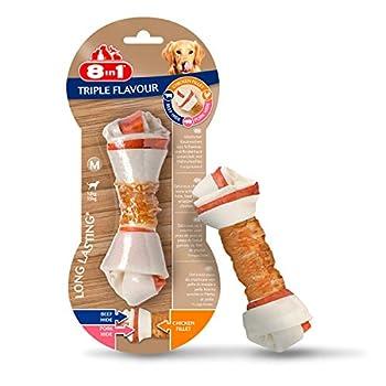 8in1 Triple Flavour M - Os à Mâcher pour Chien de Petite Taille – Plus de viande, plus de durée de mâche - Limite le Tartre - Sans OGM, Conservateur Artificiel