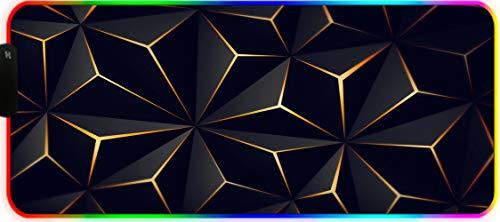 DEESYG Alfombrilla de Ratón Gaming, 800x300x3 mm Grande Alfombrilla Raton 12 Modo RGB Luces Base de Goma Antideslizante y Superficie Suave Resistente -triángulo Negro Abstracto