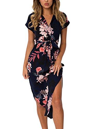 Cindeyar Damen Sommerkleider Kurzarm V-Ausschnitt Lange Kleider Sommer Elegantes Strandkleid (schwarz, L)