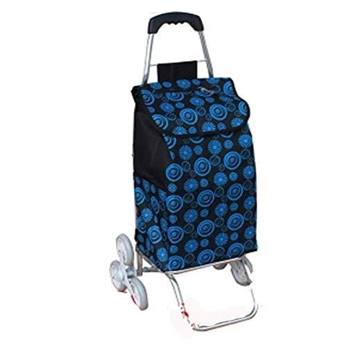 CENPEN Carrito de la compra plegable de aleación de aluminio Carro de la compra impermeable impreso Oxford bolsa de tela ligera carrito de escalada 6 ruedas para el hogar ligero carrito de compras