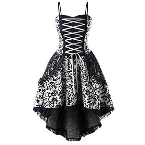 SANFASHION Damen Minikleider,Frauen Vintage Riemchen schnüren Fit und Flare Punk Vintage Partykleid
