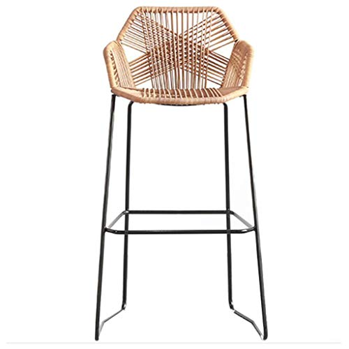 Classic Elegant Home Décor Leisure Hand-Woven Rattan Seat Barstools Bar Chairs, 75cm/29.5Inches Modern Design