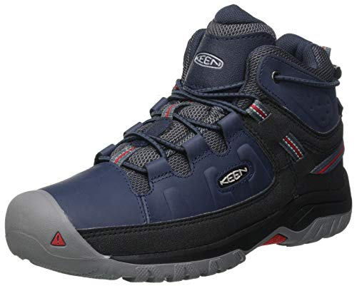 KEEN Targhee Mid Wp Hiking Boot, Blue Nights/Red Carpet, 13 US Unisex Little Kid