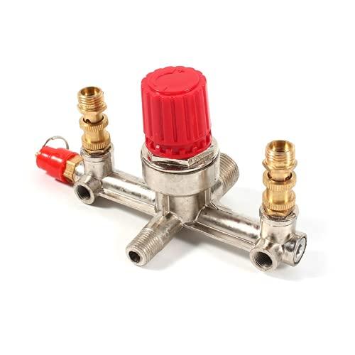 Tubo de salida doble aleación compresor de aire interruptor regulador presión válvula accesorios alta calidad venta caliente