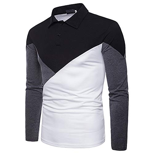 Men's Polo Shirt Long Sleeve Regular fit Classic Patchwork Shirt Business Casual Polo Shirt Breathable Elegant Basic Button Lapel t-Shirt Sweatshirt Golf Tennis Sport top L