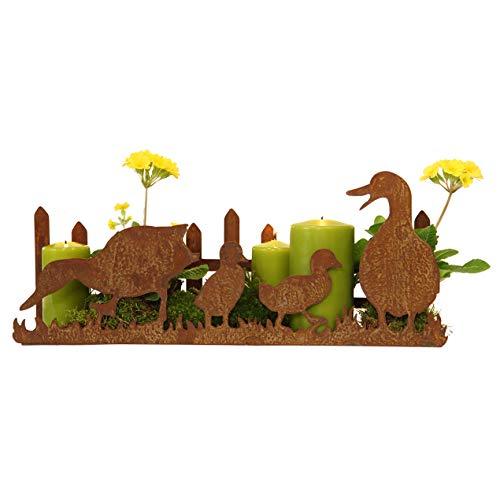 STILTREU Edelrost Entenfamilie mit Zaun auf Platte, Rost Deko, 20 x 50x 12 cm