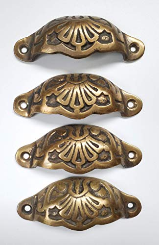 4 Solid Brass Apothecary Drawer Cup Bin Pulls Handles Antique Victorian Style 3 9/16' #A2