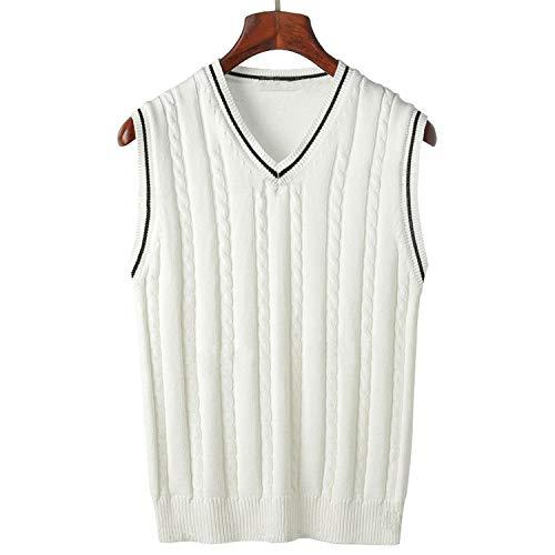 Solarphoenix Spring Men's Knit Tanks V Neck Sleeveless Sweaters Male Slim Knitting Cotton Vest,White,XXL