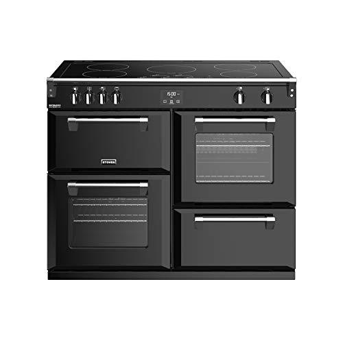 Stoves Richmond S1100 EI DeLuxe Cuisinière Noir Plaque avec zone à induction A - Fours et cuisinières (Cuisinière, Noir, Rotatif, Chrome, En haut devant, Électronique)