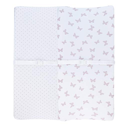 Adrienne Vittadini Bambini Jersey Cotton Change Pad Cover 2 Pack Lavendar Butterfly & Dots, Lavender